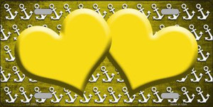 Yellow White Anchor Hearts Print Oil Rubbed Wholesale Metal Novelty License Plate
