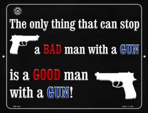 A Bad Man With A Gun Wholesale Novelty Mini Metal Parking Sign PM-1491