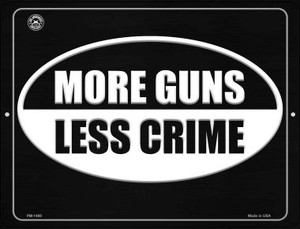 More Gun Less Crime Wholesale Novelty Mini Metal Parking Sign PM-1498