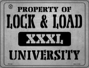 Property Of Lock & Load XXXL University Wholesale Novelty Mini Metal Parking Sign PM-1509