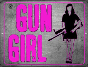 Gun Girl Wholesale Novelty Mini Metal Parking Sign PM-1531