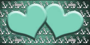 Mint White Anchor Hearts Print Oil Rubbed Wholesale Metal Novelty License Plate