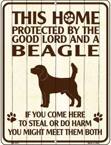 Home Protected By Beagle Wholesale Novelty Mini Metal Parking Sign PM-1670