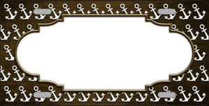 Brown White Anchor Scallop Print Oil Rubbed Wholesale Metal Novelty License Plate