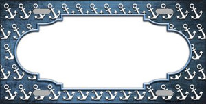 Light Blue White Anchor Scallop Print Oil Rubbed Wholesale Metal Novelty License Plate