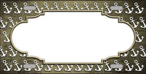 Gold White Anchor Scallop Print Oil Rubbed Wholesale Metal Novelty License Plate