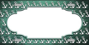 Mint White Anchor Scallop Print Oil Rubbed Wholesale Metal Novelty License Plate