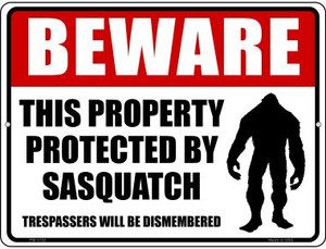 Protected By Sasquatch Wholesale Novelty Mini Metal Parking Sign PM-1732