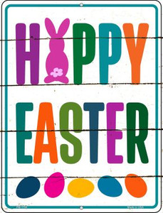 Happy Easter with Eggs Wholesale Novelty Mini Metal Parking Sign PM-1760