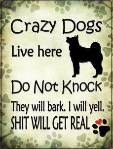 Crazy Dog Will Bark Wholesale Novelty Mini Metal Parking Sign PM-1761