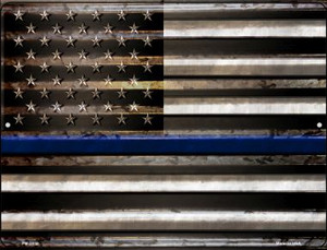 American Flag Thin Blue Line Wholesale Novelty Mini Metal Parking Sign PM-2310
