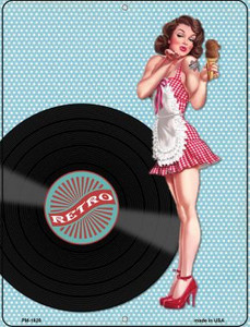 Girl With Vinyl Record Wholesale Novelty Mini Metal Parking Sign PM-1828