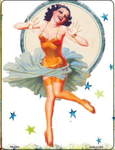 Girl With Orange Body Suit Wholesale Novelty Mini Metal Parking Sign PM-1835