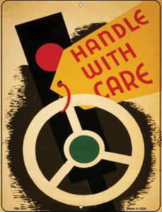 Handle with Care Wholesale Novelty Mini Metal Parking Sign PM-1931
