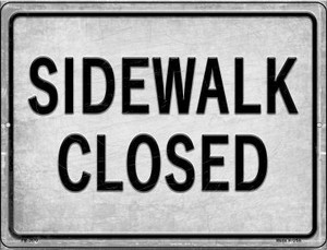 Sidewalk Closed Wholesale Novelty Mini Metal Parking Sign PM-2670