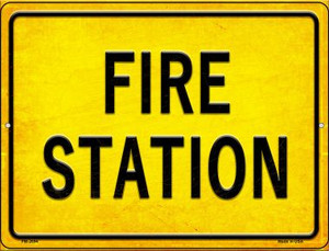 Fire Station Wholesale Novelty Mini Metal Parking Sign PM-2694