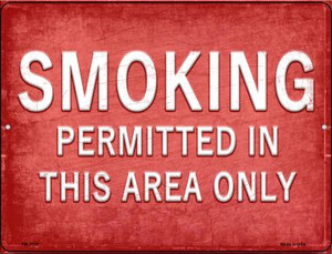 Smoking Permitted in This Area Only Wholesale Novelty Mini Metal Parking Sign PM-2722