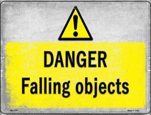Danger Falling Objects Wholesale Novelty Mini Metal Parking Sign PM-2750