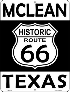 McLean Texas Historic Route 66 Wholesale Novelty Mini Metal Parking Sign PM-2789