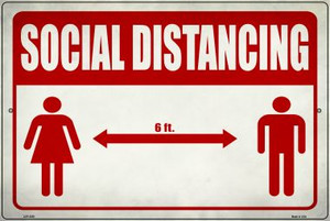Social Distancing Red Wholesale Novelty Metal Large Parking Sign LGP-2858