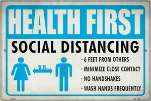 Health First Social Distancing Wholesale Novelty Metal Large Parking Sign LGP-2864