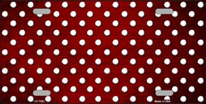 Red White Small Dots Print Oil Rubbed Wholesale Metal Novelty License Plate