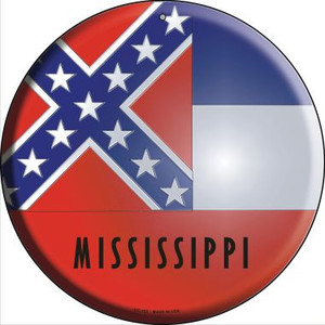 Mississippi State Flag Wholesale Novelty Small Metal Circular Sign UC-123