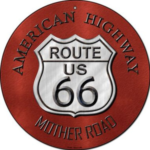 Route 66 American Highway Wholesale Novelty Small Metal Circular Sign UC-482