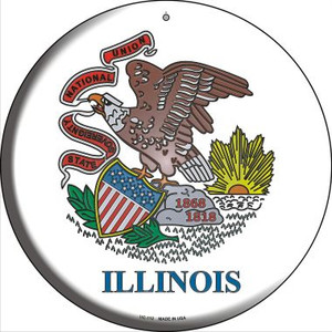 Illinois State Flag Wholesale Novelty Small Metal Circular Sign UC-112