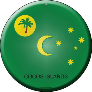 Cocos Islands Country Wholesale Novelty Small Metal Circular Sign UC-236