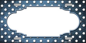 Light Blue White Small Dots Scallop Print Oil Rubbed Wholesale Metal Novelty License Plate