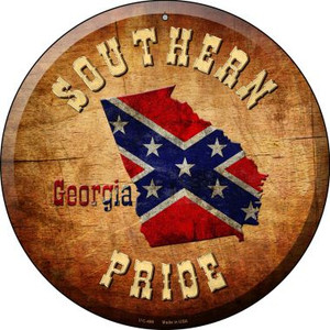 Southern Pride Georgia Wholesale Novelty Small Metal Circular Sign UC-490