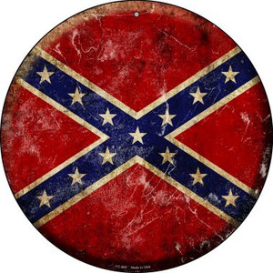 Confederate Flag Wholesale Novelty Small Metal Circular Sign UC-500