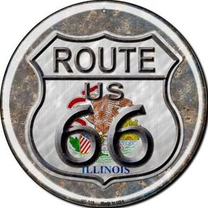 Illinois Route 66 Wholesale Novelty Small Metal Circular Sign UC-519