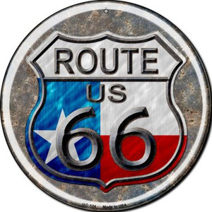 Texas Route 66 Wholesale Novelty Small Metal Circular Sign UC-524
