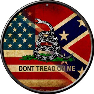 American Confederate Dont Tread On Me Wholesale Novelty Small Metal Circular Sign UC-562