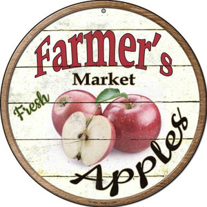 Farmers Market Apples Wholesale Novelty Small Metal Circular Sign UC-604