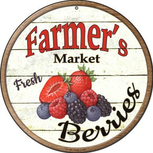 Farmers Market Berries Wholesale Novelty Small Metal Circular Sign UC-608