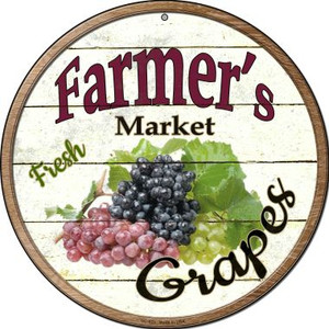 Farmers Market Grapes Wholesale Novelty Small Metal Circular Sign UC-623