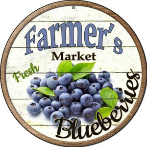 Farmers Market Blueberries Wholesale Novelty Small Metal Circular Sign UC-627