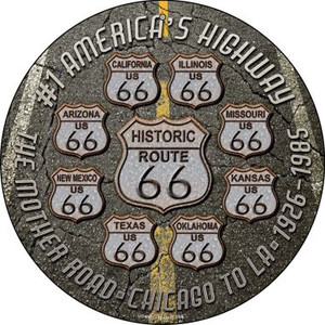 Route 66 Black Top Wholesale Novelty Small Metal Circular Sign UC-657