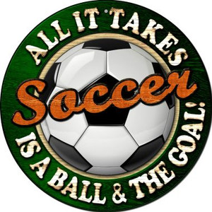 Soccer Wholesale Novelty Small Metal Circular Sign UC-663
