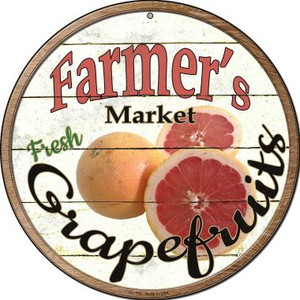 Farmers Market Grapefruits Wholesale Novelty Small Metal Circular Sign UC-778