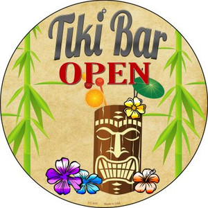 Tiki Bar Open Wholesale Novelty Metal Novelty Small Metal Circular Sign UC-815
