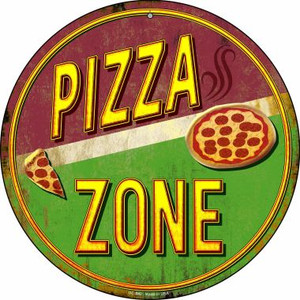 Pizza Zone Wholesale Novelty Small Metal Circular Sign UC-842