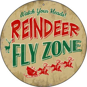 Reindeer Fly Zone Wholesale Novelty Small Metal Circular Sign UC-852