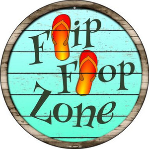 Orange Flip Flop Zone Wholesale Novelty Small Metal Circular Sign UC-880