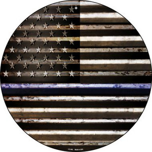 American Flag Thin Blue Line Wholesale Novelty Small Metal Circular Sign UC-893