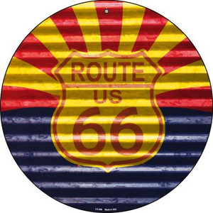 Route 66 Arizona Flag Wholesale Novelty Small Metal Circular Sign UC-896