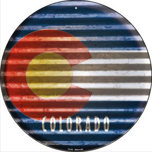 Colorado Flag Corrugated Effect Wholesale Novelty Small Metal Circular Sign UC-916